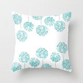 dandelion in Tiffany blue Throw Pillow