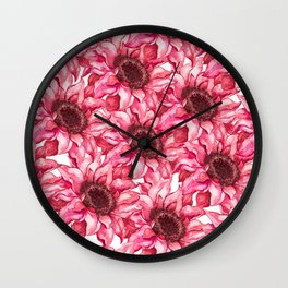 Hand painted watercolor marsala red white floral pattern Wall Clock