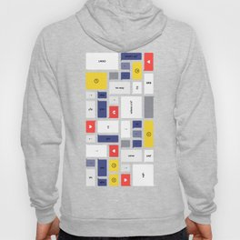 LOL, Mondrian – White / Blue / Yellow / Red Abstract Print Hoody