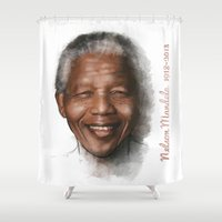 mandela Shower Curtains featuring Nelson Mandela by Tribute Portrait