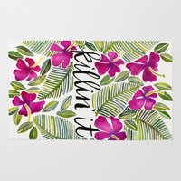 tropical Area & Throw Rugs featuring Killin' It – Tropical Pink by Cat Coquillette