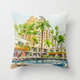 The Hollywood Roosevelt Pool Throw Pillow