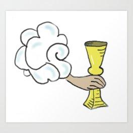 Four of Cups Tarot Cloud Art Print