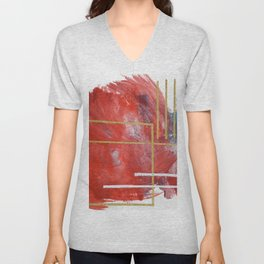 Reckless Abandon: a vibrant abstract mixed-media piece in red and gold by Alyssa Hamilton Art Unisex V-Neck
