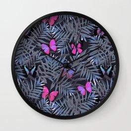 Butterflies Night Dance Wall Clock