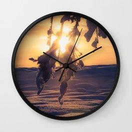Winter Morning sunrise on leaves at Creamers Field, Fairbanks Alaska Wall Clock