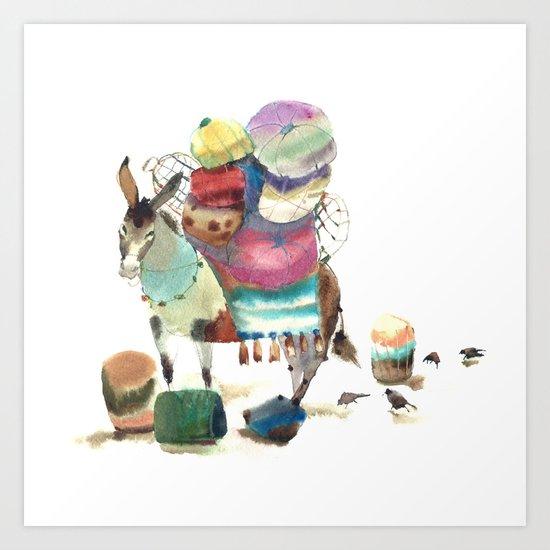 Watercolor cute donkey kids illustration Art Print