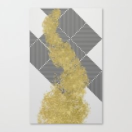 modern gold dust and line pattern design Canvas Print