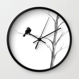 Raven in a Tree Wall Clock