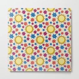 Shiny Floweria Pattern Metal Print
