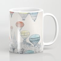 hot pink Mugs featuring Voyages over Edinburgh by David Fleck