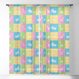 Colorful dinosaurs and pterodactyl cheater quilt Sheer Curtain