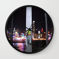 hong kong Wall Clocks featuring Hong Kong  by Chernyshova Daryna