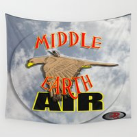 middle earth Wall Tapestries featuring darrell merrill nerd artist: middle earth air by Nerd Artist DM