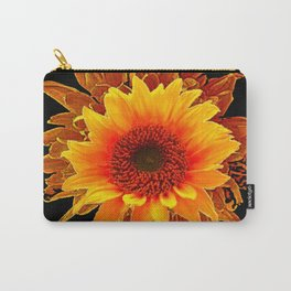 Decor Black & Brown Golden Sunflower Art Carry-All Pouch