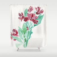 peru Shower Curtains featuring Peru Lilies by Kate Havekost Fine Art