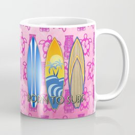 Born To Surf Pink Tikis Coffee Mug
