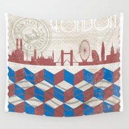 London Vintage Stamp Wall Tapestry