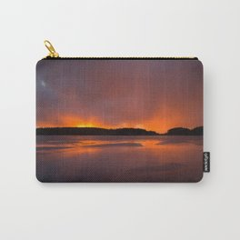 Sunset With Orange Sky Reflections On The Icy Lake #decor #society6 #homedecor #buyart Carry-All Pouch