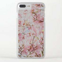 Pastel Pink Magnolias Clear iPhone Case