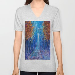 Impressionist Autumn -  ( inspired by Pollock ) Unisex V-Neck