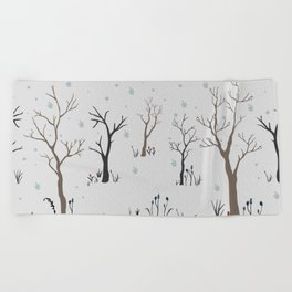 Winter Coming to Woods Beach Towel