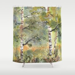 Spring Birch Forest, an original watercolor painting Shower Curtain