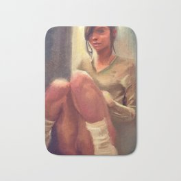 Painting of Half Naked Young Woman In Socks Bath Mat