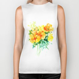 California Poppies, floral home decor Biker Tank