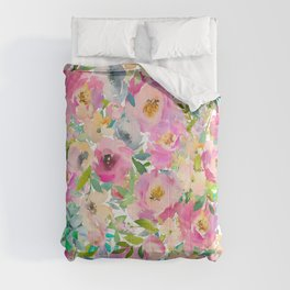 Elegant blush pink lavender green watercolor floral Comforters