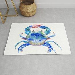 Blue Crab, crab restaurant seafood design art Rug