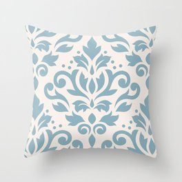 Scroll Damask Large Pattern Blue on Cream Throw Pillow