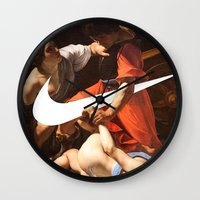 nike Wall Clocks featuring Fight Nike by CHESSOrdinary