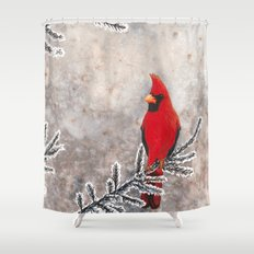 The Red Cardinal in winter Shower Curtain