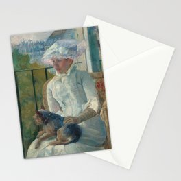 Young Girl at a Window Oil Painting by Mary Stevenson Cassatt Stationery Cards