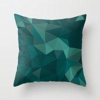 polygon Throw Pillows featuring Green Polygon by artsimo