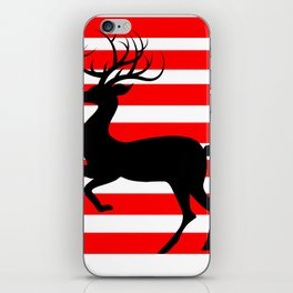 Reindeer On Candy Stripe iPhone Skin