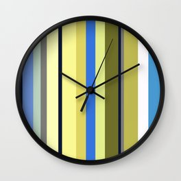 Blue and Moss Stripes Wall Clock