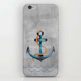 Maritime Design- Nautic Anchor Navy Marine Beach iPhone Skin