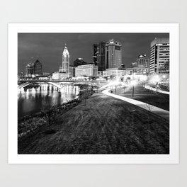 Downtown Columbus and Scioto Mile in Monochrome Art Print