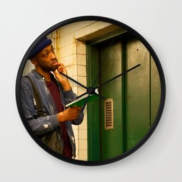 Man with a Book Waiting Elevator, A Wall Clock