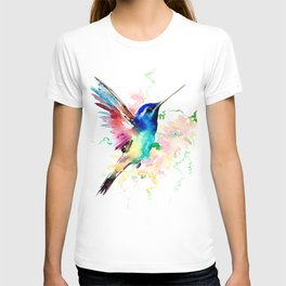 Hummingbird , Blue Turquoise Pink T-shirt