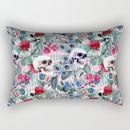 Flowers and Skulls (Pink) Rectangular Pillow