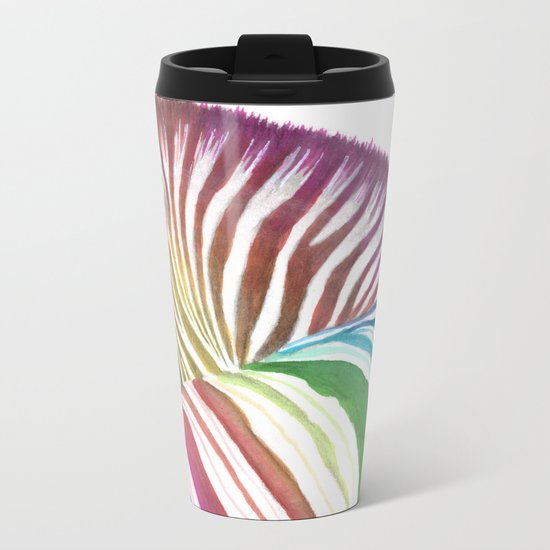 Rainbow Stripes Metal Travel Mug