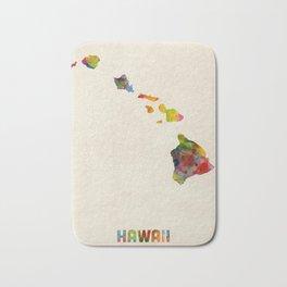 Hawaii Watercolor Map Bath Mat
