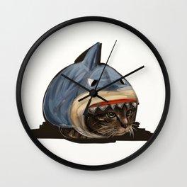 Cat in Shark Costume Wall Clock