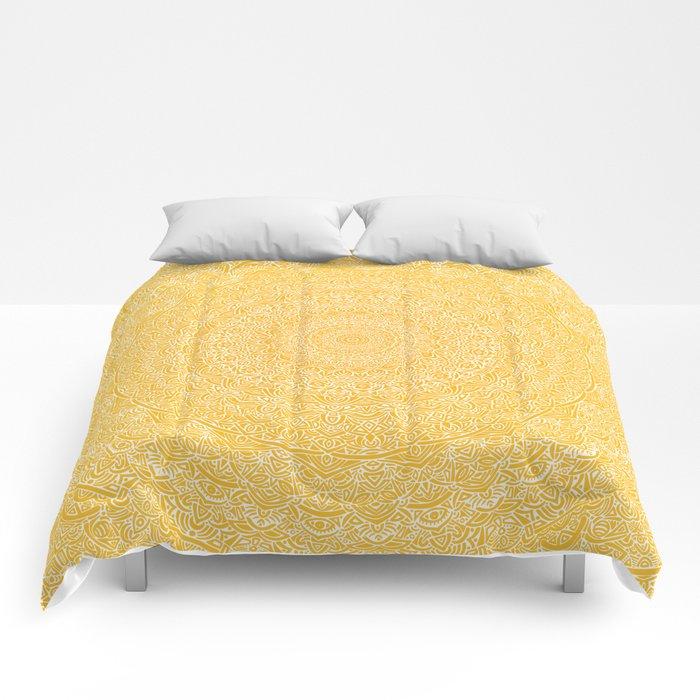 The Most Detailed Intricate Mandala (Mustard Yellow) Maze Zentangle Hand Drawn Popular Trending Comforters
