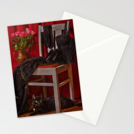 When will she come back? I am waiting .... a cat Stationery Cards