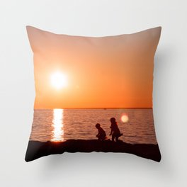Chasing the Sun. Childhood at the Seaside Throw Pillow