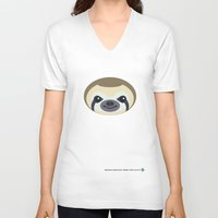 sloth V-neck T-shirts featuring Sloth by Mirukuru